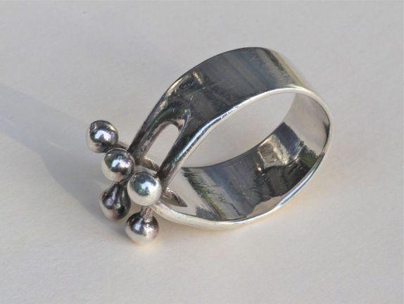 Anna Greta Eker Plus For Norway Silver Designs Moderne Ring Kule Ball Jester 1962 Ring Stempler Design