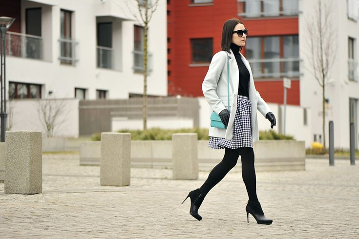 kratka-vichy-stylizacja #street #style #street #fashion #gingham #vichy #mint #coat #oversized #coat #turquise #bag #skirt #vichy #skirt #gingham #outfit
