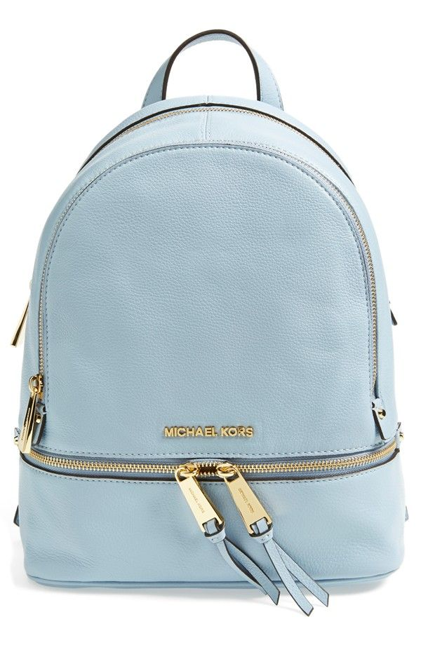 MICHAEL Michael Kors 'Small Rhea Zip' Leather Backpack in Pale Blue