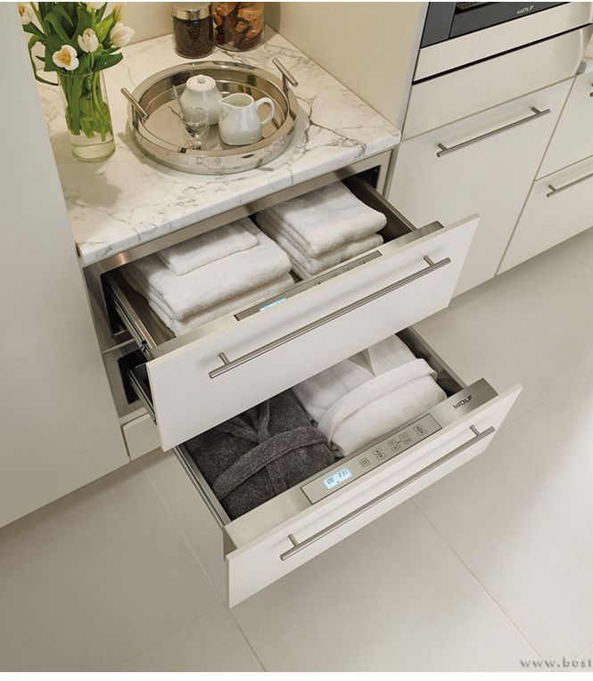 Towel warming drawers for your bathroom (Wolf appliances available via Clarke)