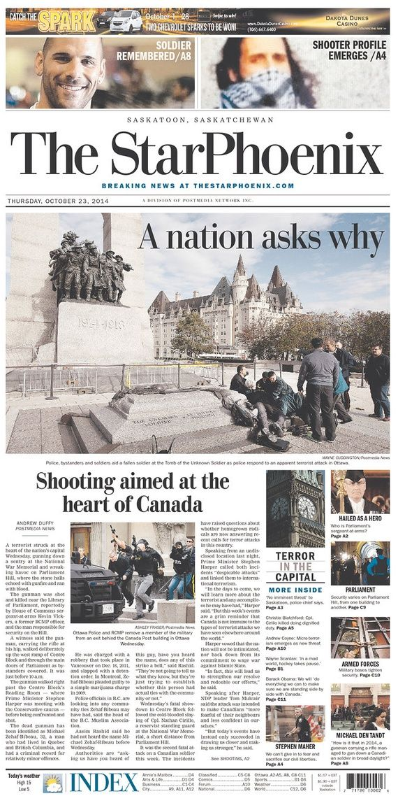 How Canada's Newspapers Reported the Ottawa Shooting - The Atlantic