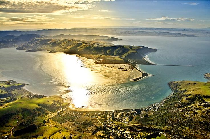 Entrance to Otago Harbour, Harrington Point at the tip of Otago Peninsula, see more, learn more, at New Zealand Journeys app for iPad www.gopix.co.nz
