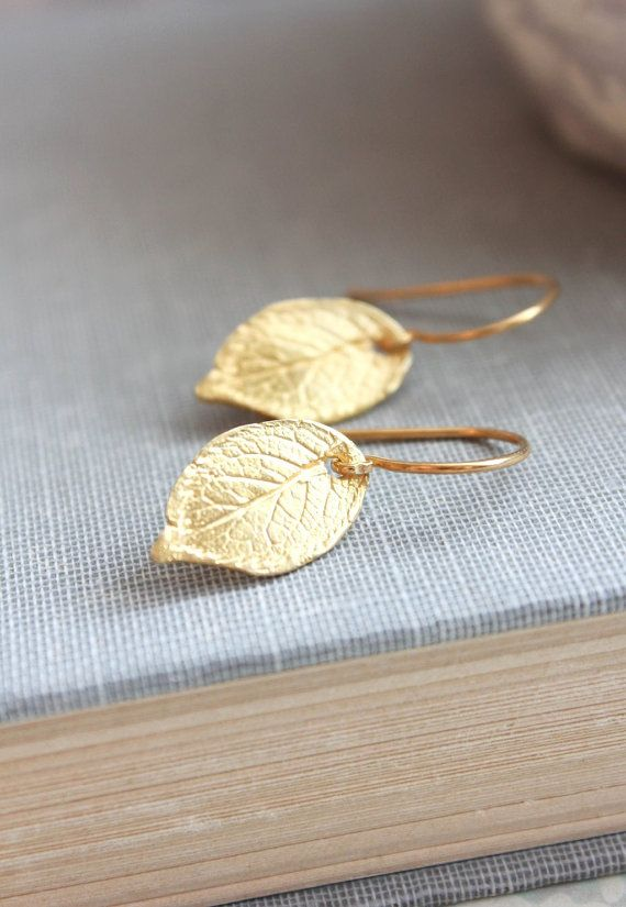 Gold Leaf Earrings Small Drop Earrings Gold by apocketofposies
