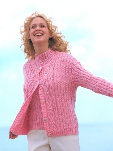 Aran Texture Twinset   Yarn   Free Knitting Patterns   Crochet Patterns   Yarnspirations