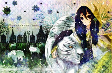 Anime Girl With White Tiger Scenery Art Pinterest