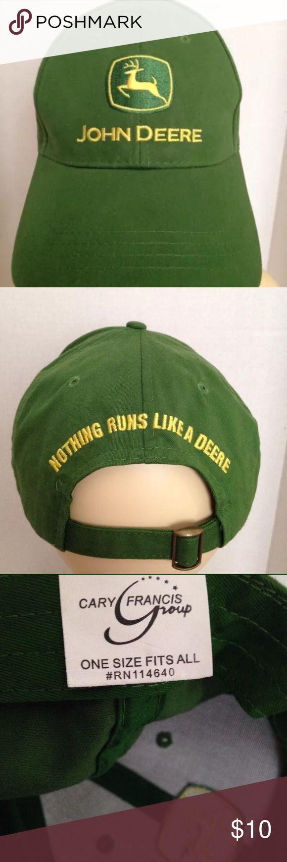 John Deere Adjustable Cap 100% Cotton John Deere Adjustable Cap ( Nothing Runs Like A Deere) 100% Cotton • Like New Condition John Deere Accessories Hats