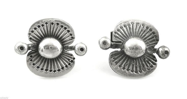 Big Vintage 1960s Seppo Tamminen Finland 830 Silver Modern Brutalist Cufflinks