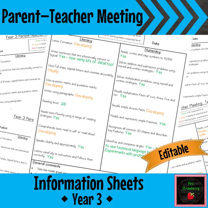 Home :: Grade / Year Level :: Primary Education :: Year 3 :: Year 3 Parent Teacher Meeting - Student Information Sheets **EDITABLE**