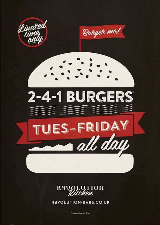 Burger, Food, Poster Graphic Design for Revolution Vodka Bar by www.diagramdesign.co.uk