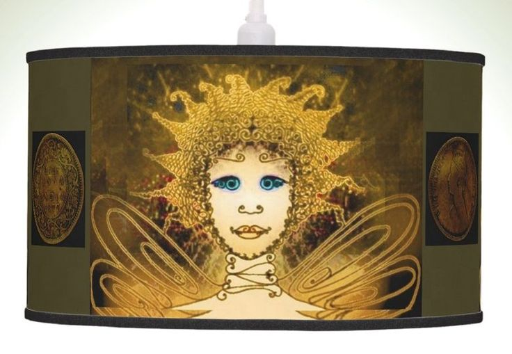 Pendant Lamp with Golden Fairy & Vintage Coin Half Anna India