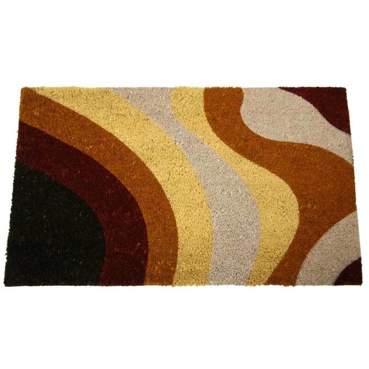 Rubber-Cal Brown Streaks Modern Door Mat (18 x 30)