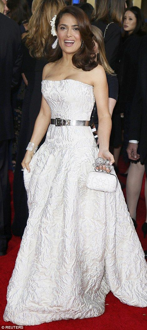 LA, 2015 Golden Globe - Salma Hayek went for a strapless number, which she accessorised with a matching bag