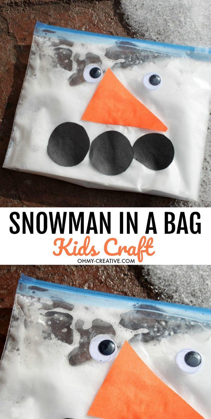 Snowman In A Bag Kids Craft | OHMY-CREATIVE.COM | Snowman Crafts | Snowman Craft Ideas | Build a snowman Kit | DIY Snowman Crafts | Easy Snowman Crafts | Snowman for Kids | Snowman Crafts for Toddlers | Preschool Snowman Craft | Winter Crafts for kids
