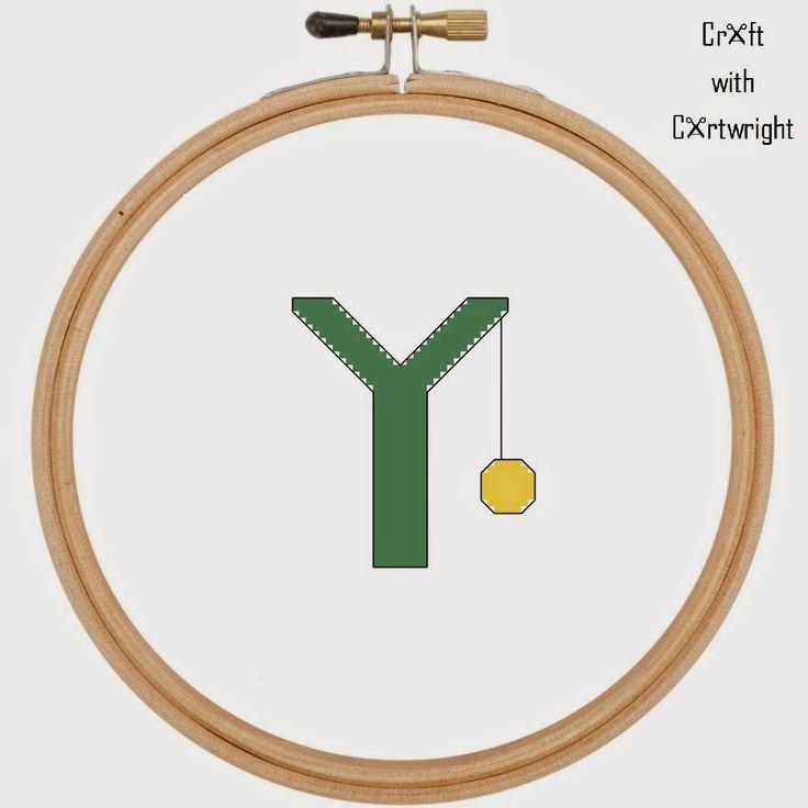Craft with Ruth Cartwright: Free cross stitch Y is for Yo Yo alphabet sampler pdf pattern