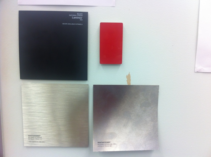 Proposed materials (in line with Griffith University Visual Identity and materials commonly used in new campus developments): Matte black surface (on the majority of the lectern), Red (for logo or highlights), stainless steel texture (for logo or highlights) and some crystal clear perspex (for emphasis and protection).