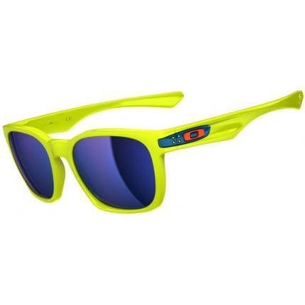 Oakley Sunglasses Garage Rock Fathom Neon Yellow/Ice Iridium is designed  for men and the frame is yellow. This style has a large - - lens diameter.