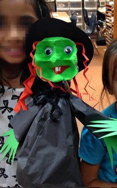 Egg Carton Witch Puppet - Fun Halloween craft for kids!