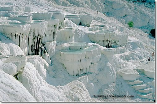 "This is not ice, these are calcium deposits or travertines in Pamukkale, Turkey...definitely on my ""Must See"" list"