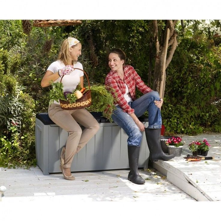 Plastic Garden Storage Box Container Container Patio Waterproof Deck Bench Chest