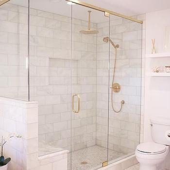 Glass and brass shower enclosure with gold rain shower head contemporary bathroom bathrooms - Glass shower head ...