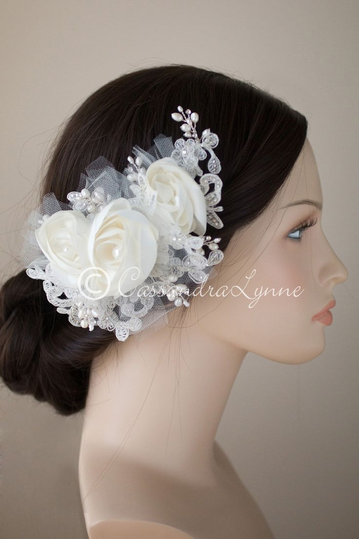 Ivory Bridal Hair Flower Clip with Pearls and Lace