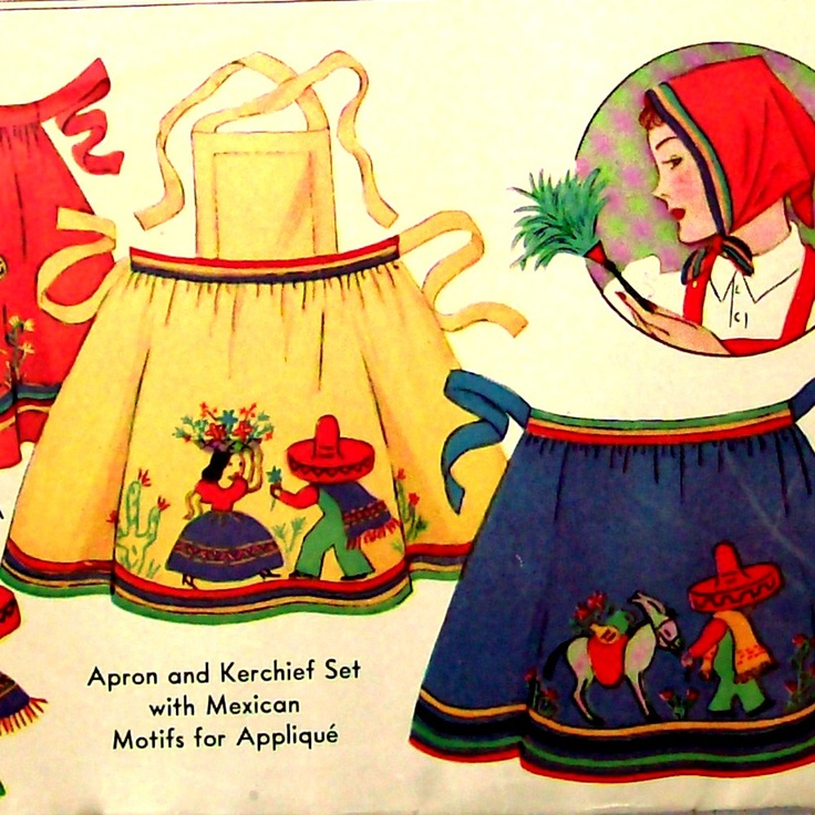 30s Vintage Sewing Pattern 1930s Apron and Kerchief with Mexican Motifs Applique McCall 663, via Etsy.