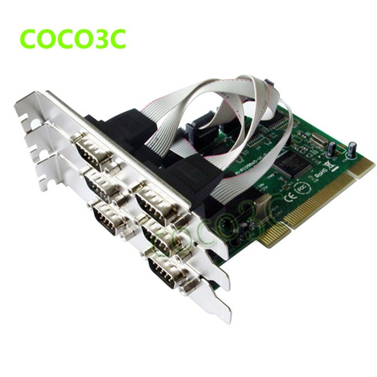 Free Shipping 6 serial RS232 Ports PCI card DB9 port to PCI I/O card converter,chipset Moschip MCS9865