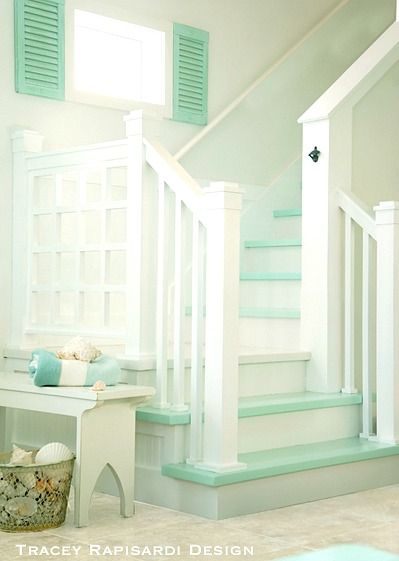 Turquoise Painted Stairs for a Beachy Coastal Feel: http://beachblissliving.com/tracey-rapisardis-pastel-beach-cottage-sarasota-fl/