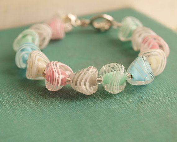 WAVES   lampwork sterling silver bracelet by ALEALE on Etsy