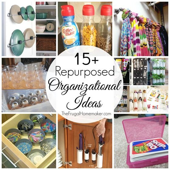 15+ Repurposing Organizing Ideas - repurpose things from around your house (things you might even throw in the trash) into organizational help!