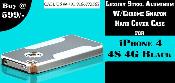 Luxury Steel Aluminum W/Chrome Snapon Hard Cover Case for iPhone 4 4S 4G Black