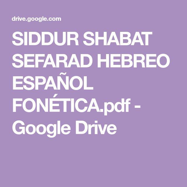 Siddur Shabat Sefarad Hebreo Espa U00d1ol Fon U00c9tica Pdf