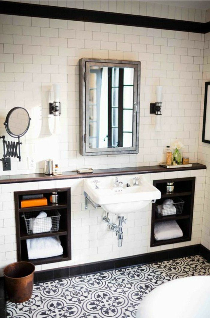 jolie salle de bain avec faience salle de bain leroy merlin noir et blanc de style retro chic
