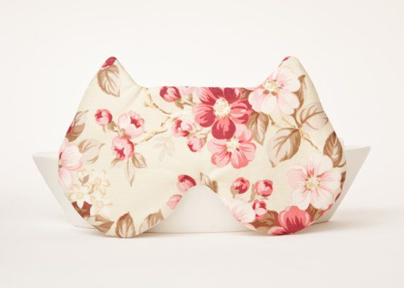 Cat Sleep Mask Floral pattern by JuliaWine on Etsy, $15.00