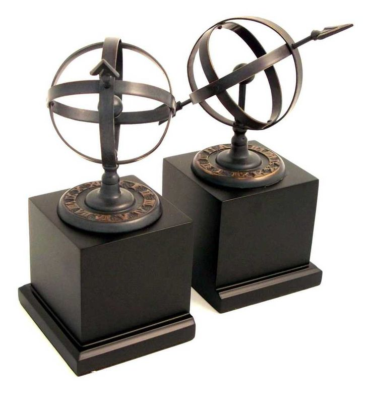 Cast Metal Sundial Bookends with Verdigris Finish on Black Wood Base. #BeyBerk #Traditional
