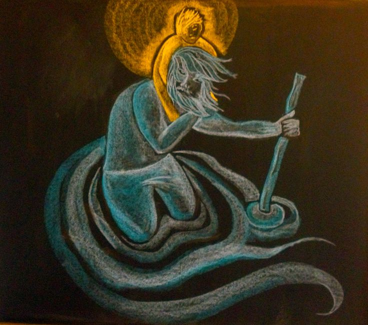 Saint Christopher blackboard drawing
