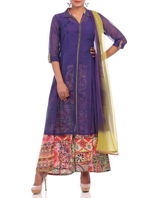 Shop Purple Art Silk A-Line Suit Set online at Biba.in - SKD4115PUR