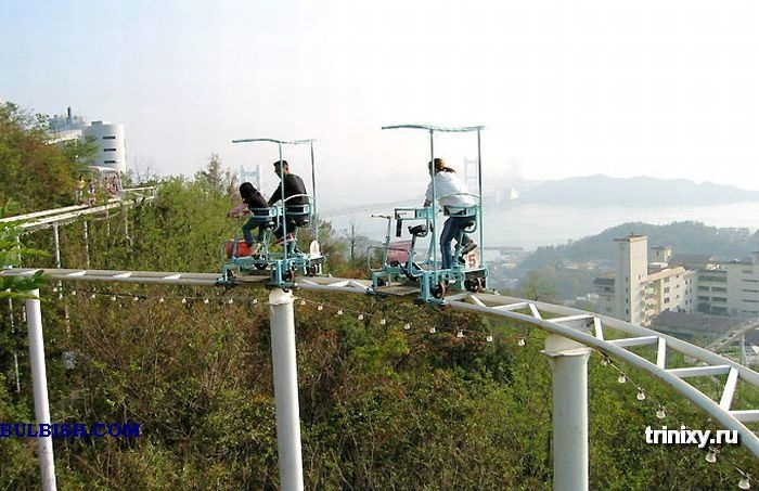 Pedal powered ...um, what is this? Monorail with two rails? Roller coaster with no coasting?