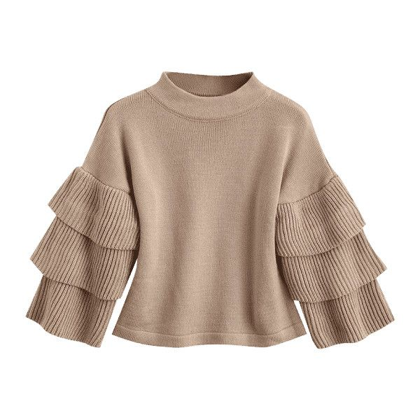 Loose Layered Sleeve Mock Neck Sweater Khaki ($27) ❤ liked on Polyvore featuring tops, sweaters, brown top, cut loose tops, mock neck top, loose fit sweater and sleeve top