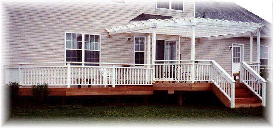 Somerset, NJ - Mahogany Deck with Cedar Rails and Pergola   Deck Pros