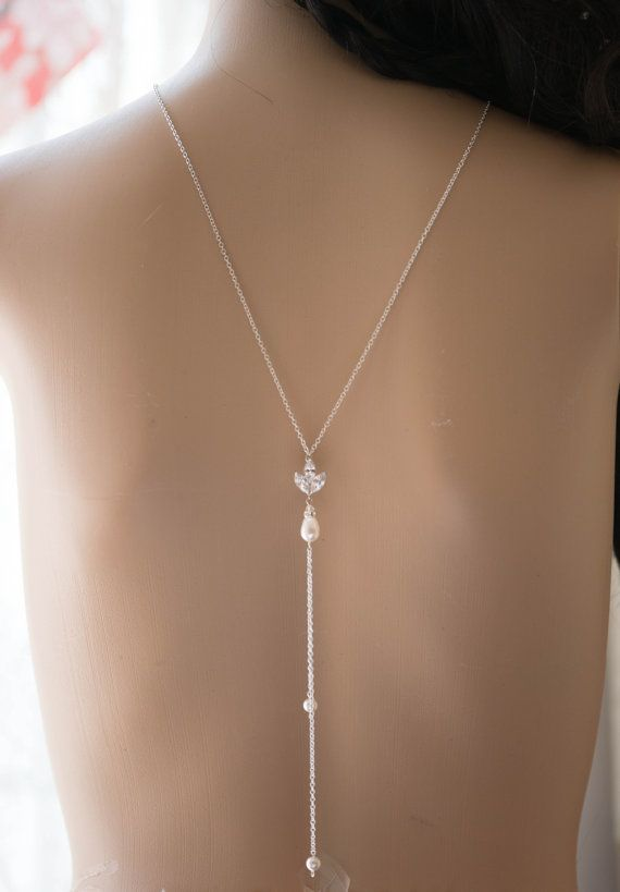statement wedding double Back drop Swarovski Pearl Crystal CZ crystal pendant Wedding necklace, Bridal Jewelry
