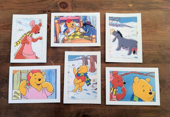 Winnie the Pooh  Greeting Cards set of 6  Cozy Beds book cutout by MagpieSailor
