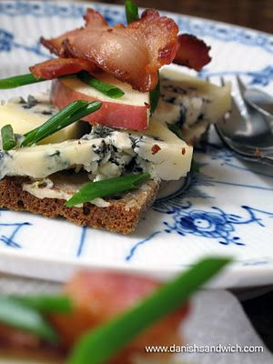 Blue Cheese with Apples and Bacon | Danish Open Sandwiches (Smørrebrød)