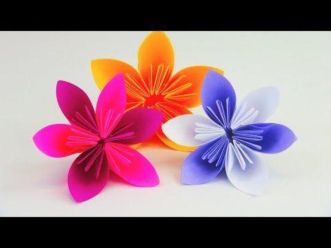 Origami Blumen falten - DIY Blumen basteln mit Papier - Bastelideen - Geschenke basteln - YouTube