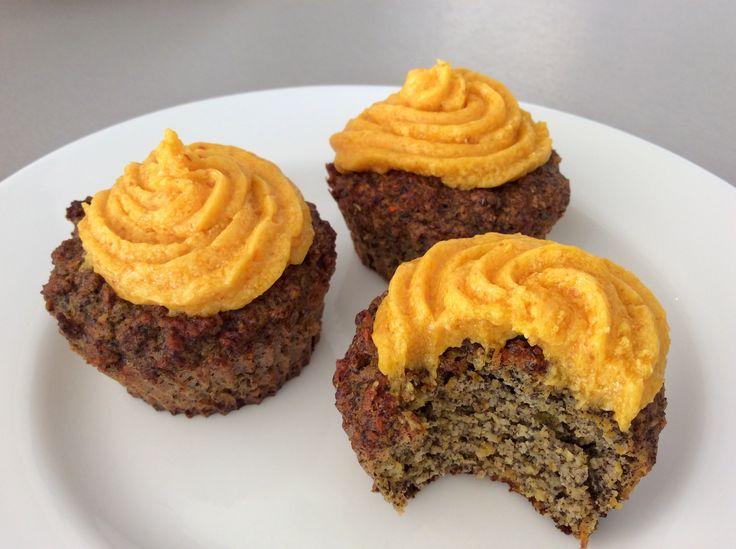 Makovo-dýňové cupcakes z mandlové mouky