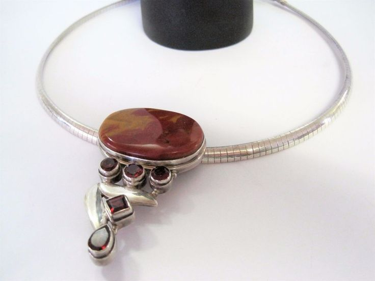 Sterling Collar Necklace with Large Red Agate and Red Rhinestone Pendant #Collar