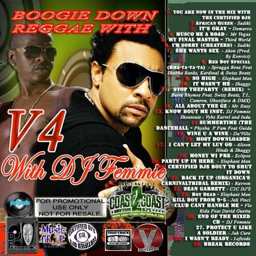 The 4th volume of Boogie Down featuring the usual bevy of hot artists some new some you have grown to love - Kick your shoes off and let us ride with the best. Shaggy, Sadiki, Demarco, Third World, Akon, Konvict, Spragga Benz, Shabba Ranks, T.I., Camron, Ghostface , DMX, Mr. Easy, Eclipse, Jah Vinci,Vybz Kartel,  Indu, Physha  P Fam, Guida, Alison Hinds,Ravvon, Sean Garret, Flo Rida, Da'Ville, Jah Vinci, David Guetta