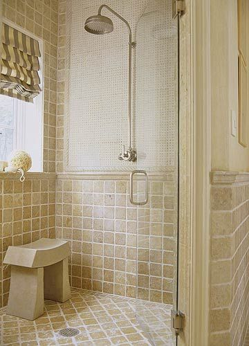 """Love this """"backdrop"""" in this shower. Not even sure what it is. Love the soothing colors."""