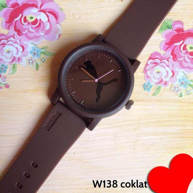 Jam tangan Puma Big Cat Kode barang : W138 coklat || Harga 90 ribu || Diameter : 4cm ||  Tali : karet || Water resistant: tidak