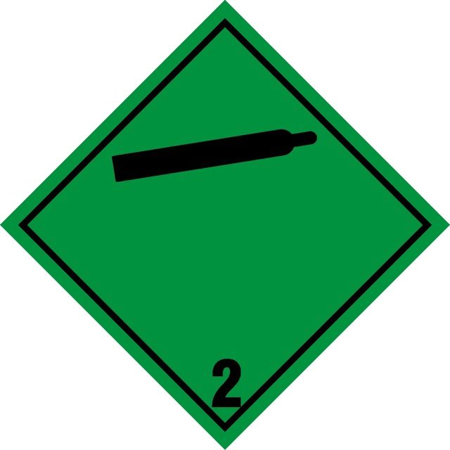 Naklejka Gazy niepalne i nietrujące. Oznaczenie stosowane w transporcie gazów niepalnych i nietrujących określonych w klasie 2 Umowy ADR.